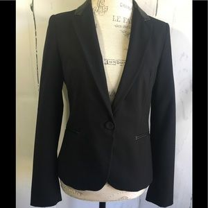 NWT Zara Black Leather Trimmed Blazer